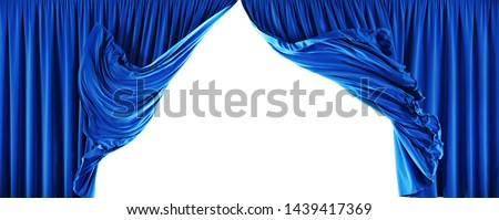 Theater velvet curtains isolated on white background. Clipping path included, 3d illustration