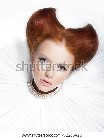 Theatre. Baroque style  -  young red hair female in white jabot and  pearls. Dramatic festive makeup. Close up portrait - series of photos - stock photo