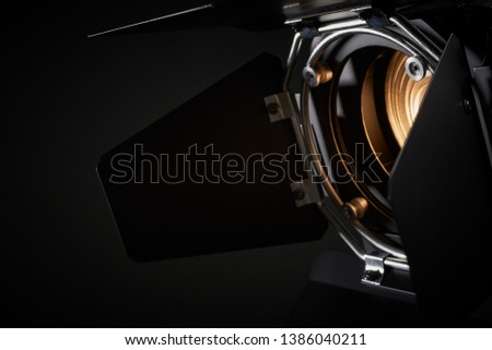 Theatre fresnel profile lighting fixture close up #1386040211