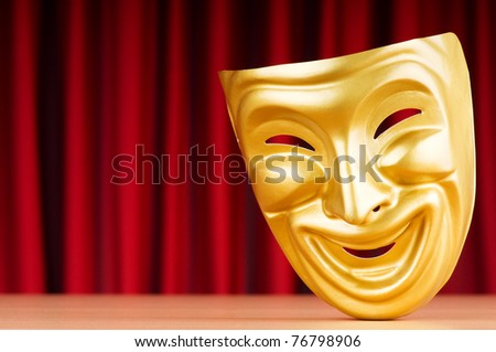 Theatre mask against the background