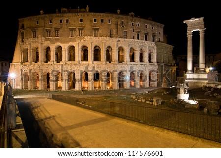 Theatre of Marcellus and Temple of Apollo Sosianus in Rome - Italy