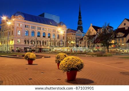 Theatre of Russian drama on the Livu square in Riga, Latvia.
