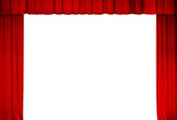 theatre red curtain frame isolate