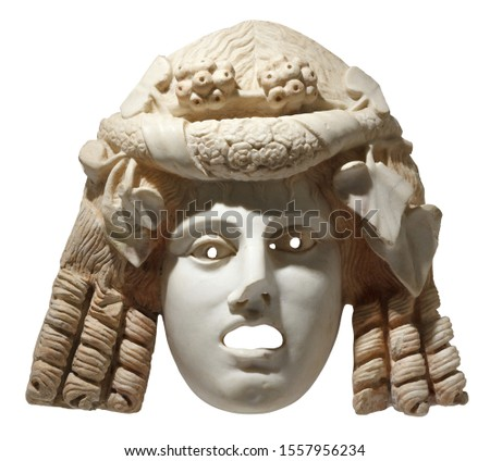 Theatre tragedy mask. Marble ancient Greece mask isolated with clipping path #1557956234