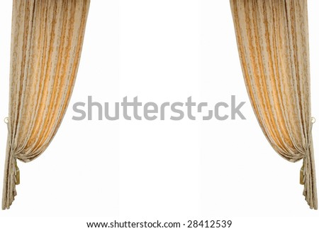 Theatrical curtain.Isolated on white