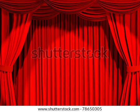 Theatrical curtain of red color - 3d