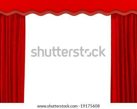 Theatrical curtain of red color. Object over white