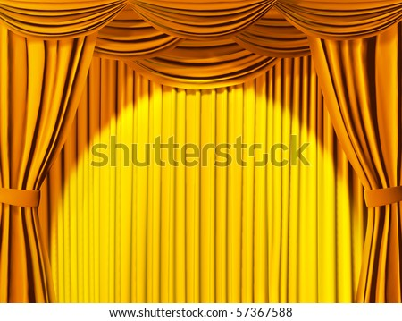 Theatrical curtain of yellow color
