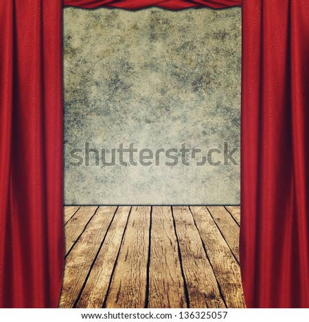 theatrical grungy backgrounds with red curtains