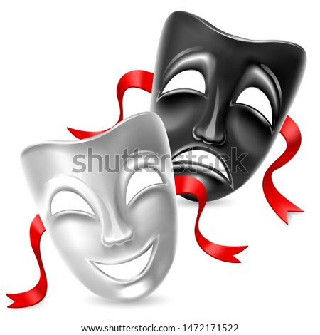 Theatrical mask. Black and white. Isolated. Mesh. Clipping Mask
