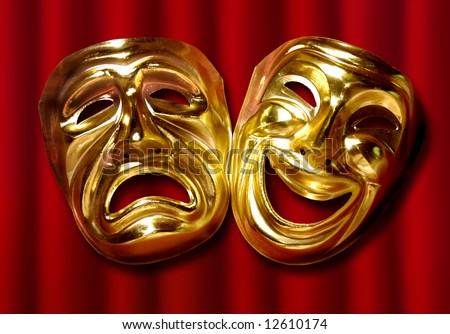 theatrical mask of tragedy and comedy over a red curtain