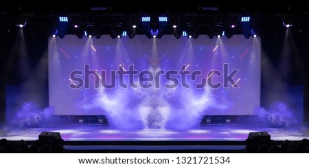 Theatrical scene without actors, scenic light and smoke #1321721534