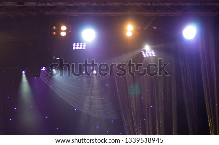 Theatrical scene without actors, scenic light and smoke #1339538945