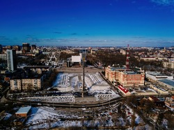 Theatrical square and park park in Rostov-on-Don, aerial view from drone in winter day.
