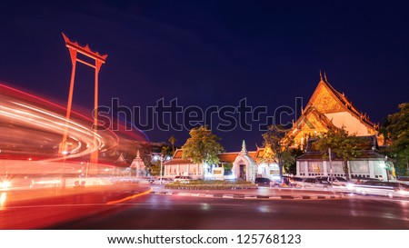 TheGiant Swing and Suthat Temple at Twilight Time, Bangkok, Thailand