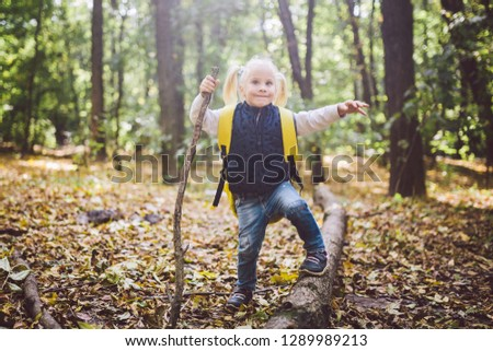 Theme outdoor activities in nature. Funny little Caucasian blonde girl walks walks hiking in the forest on rough terrain with a large backpack. Uses walking stick.