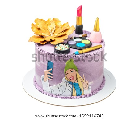 Themed cake on the theme of teenagers, with makeup and a girl. #1559116745