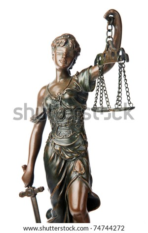Themis, mythological Greek goddess, symbol of justice, blind and holding empty balance in one hand and sword in another, isolated on white background