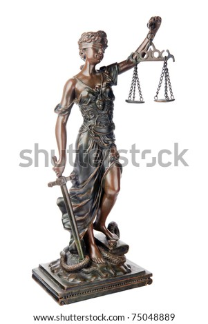 Themis, mythological Greek goddess, symbol of justice, blind and holding empty balance in one hand and sword in another, standing on defeated snake and book, isolated on white background