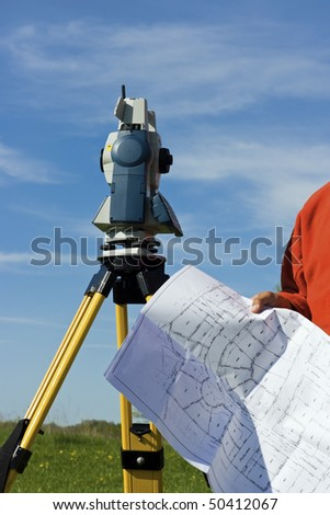 Theodilite and a map - spring surveying.