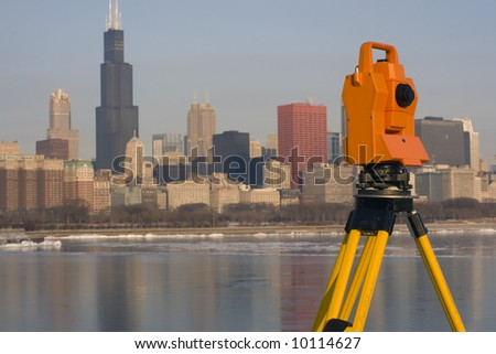 Theodolite set in downtown Chicago.