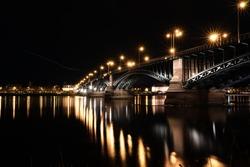 Theodor-Heuss Bridge in Mainz/Wiesbaden at night. Longtime Exposure with waterreflection