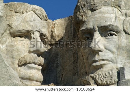 Theodore Roosevelt and Abraham Lincoln at Mount Rushmore National Monument