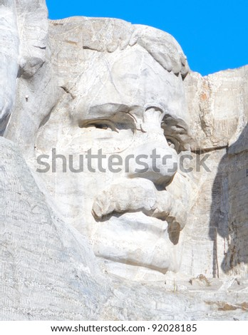 Theodore Roosevelt sculpture on Mount Rushmore National Memorial