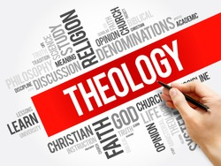 Theology word cloud collage, religion concept background