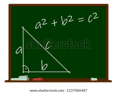 Theorem of pythagoras, on a school blackboard, 3d illustration