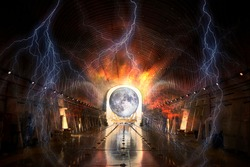 Theory of the artificial origin of the moon. The satellite is being brought into a giant futuristic alien tunnel . Sci-fi concept. Elements of this image furnished by NASA.