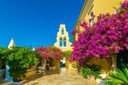 Theotokos Monastery, Paleokastritsa town, Corfu island, Greece