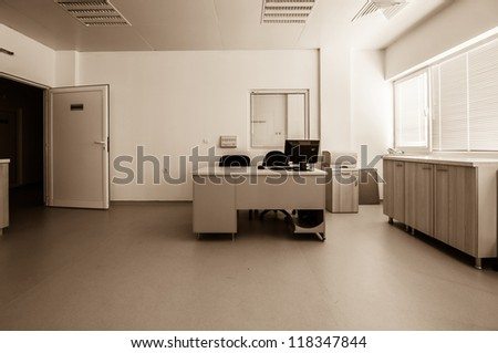Therapeutic and diagnostic rooms with medical equipment. Medical-diagnostic equipment room.