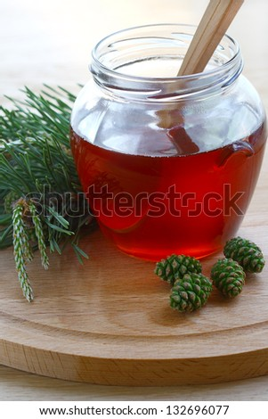Therapeutic jam made �¢??�¢??from green young pine buds - stock photo