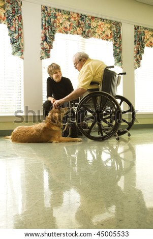 Therapy dog is pet by an elderly man in a wheelchair and a younger woman. Vertical shot