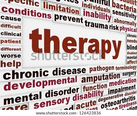Therapy medical creative background. Rehabilitation message poster concept