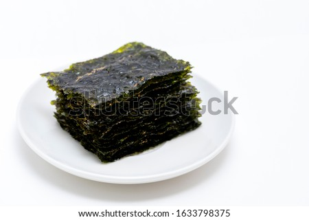 There are dried laver on the plate Photo stock ©