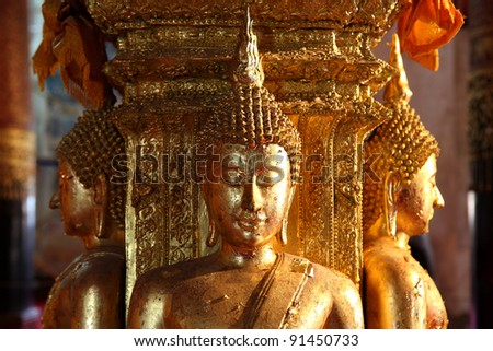 There are four small statues of Buddha in the temple Phumin Nan, Thailand