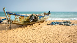 There are lot of fishingboat on the atlantic coast in Bénin, West Africa. 