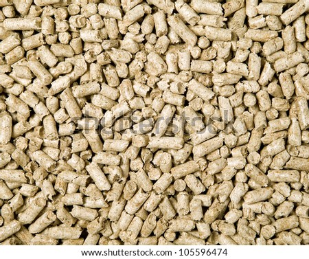 There are many shredded brown wood pellets