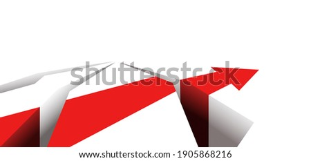 There are obstacles on the way. Red arrow. Good luck and failure in business. A symbol of a difficult path through problems. Red arrow in the cracks. Stock photo ©