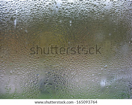 There are window glass and rain drops