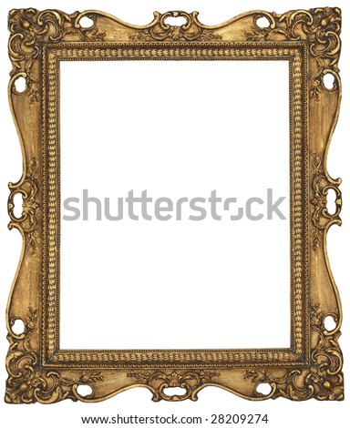 There is a antique gold picture frame