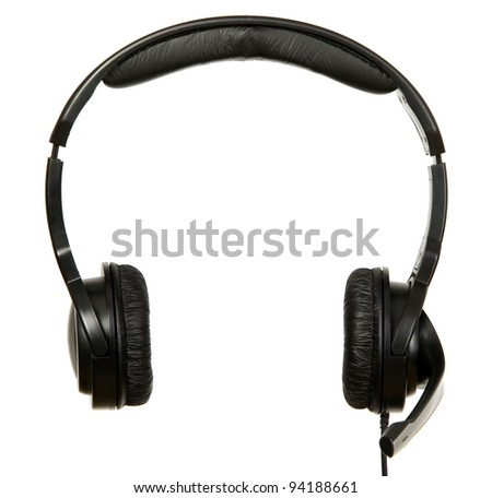 There is a black headphones with microphone