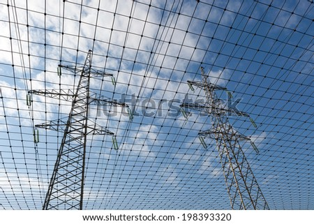 There is a electric transmission line by an interesting angle of view and network.