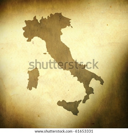 There is a map of Italy on grunge paper background