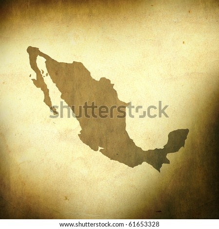 There is a map of Mexico on grunge paper background