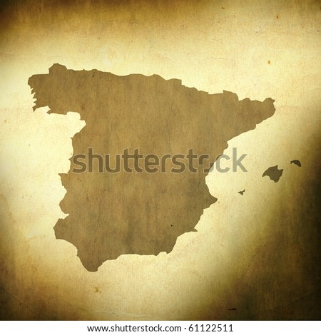 There is a map of Spain on grunge paper background