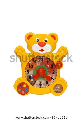 there is a toy clock on white