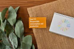There is card with the statement Goal 12: Responsible consumption and production  on it one of the goals of the SDGs and a symbol.
